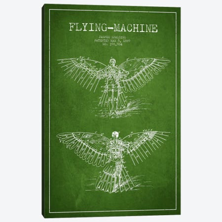 Icarus 3 Green Patent Blueprint Canvas Print #ADP2451} by Aged Pixel Canvas Art Print