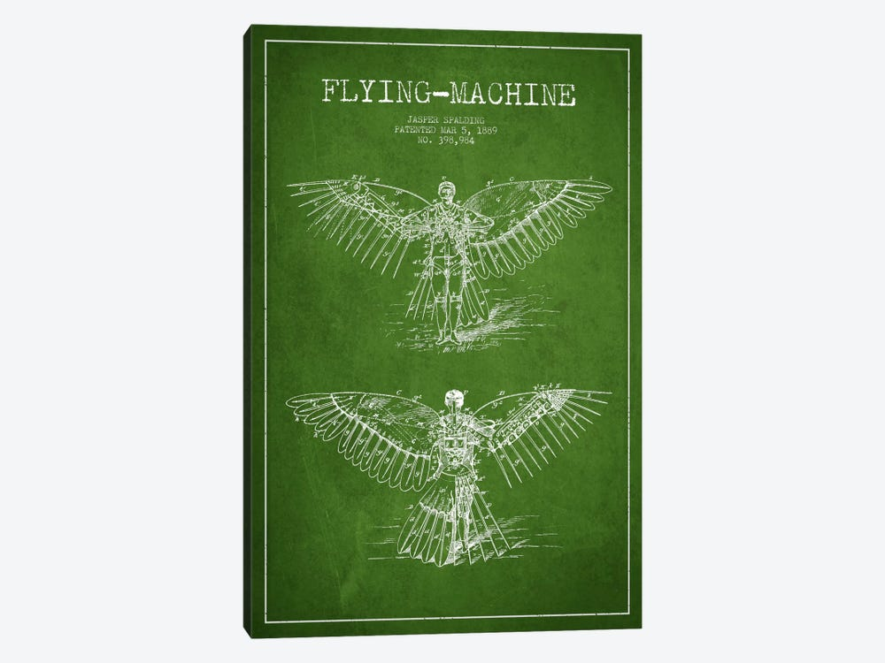 Icarus 3 Green Patent Blueprint by Aged Pixel 1-piece Canvas Print