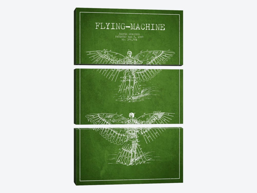 Icarus 3 Green Patent Blueprint by Aged Pixel 3-piece Canvas Print