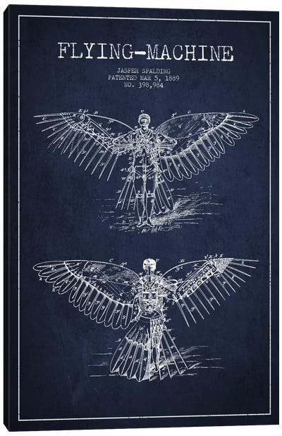 Icarus 3 Navy Blue Patent Blueprint Canvas Art Print
