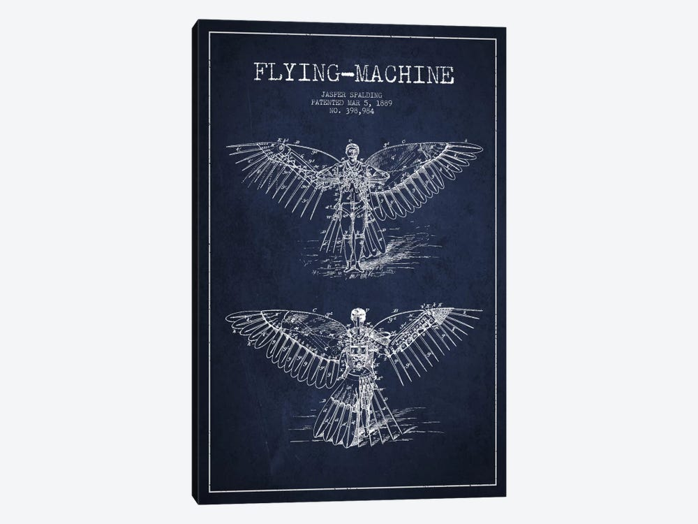 Icarus 3 Navy Blue Patent Blueprint by Aged Pixel 1-piece Canvas Art