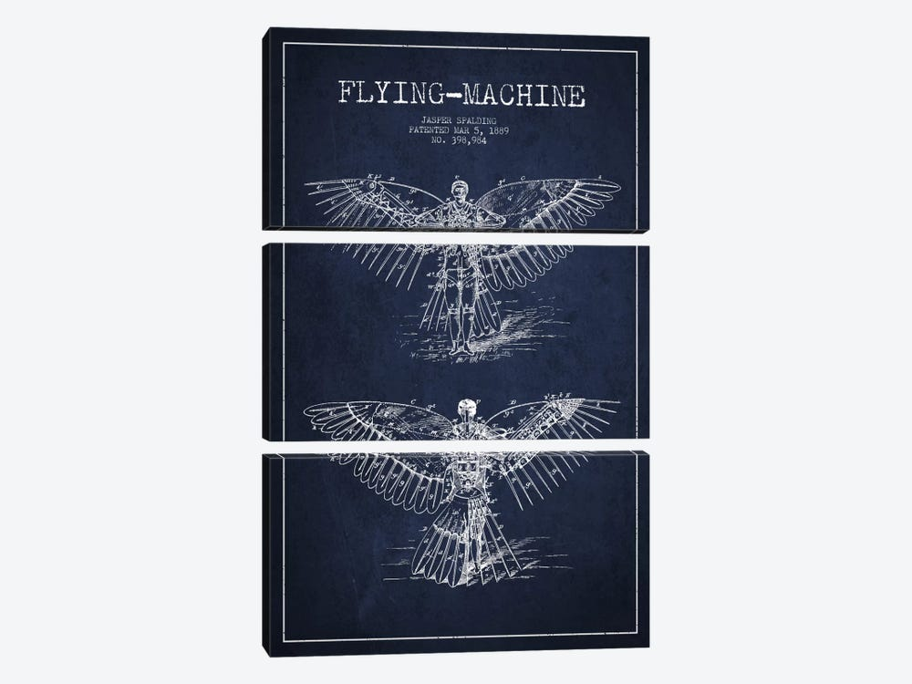 Icarus 3 Navy Blue Patent Blueprint by Aged Pixel 3-piece Canvas Artwork