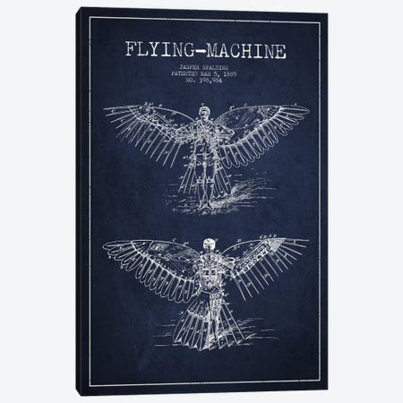 Icarus 3 Navy Blue Patent Blueprint Canvas Print #ADP2452} by Aged Pixel Canvas Print