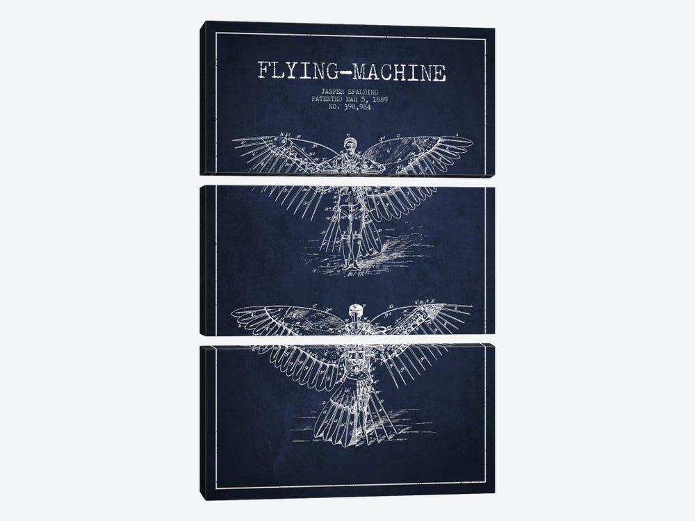 Icarus 3 Navy Blue Patent Blueprint by Aged Pixel 3-piece Canvas Artwork