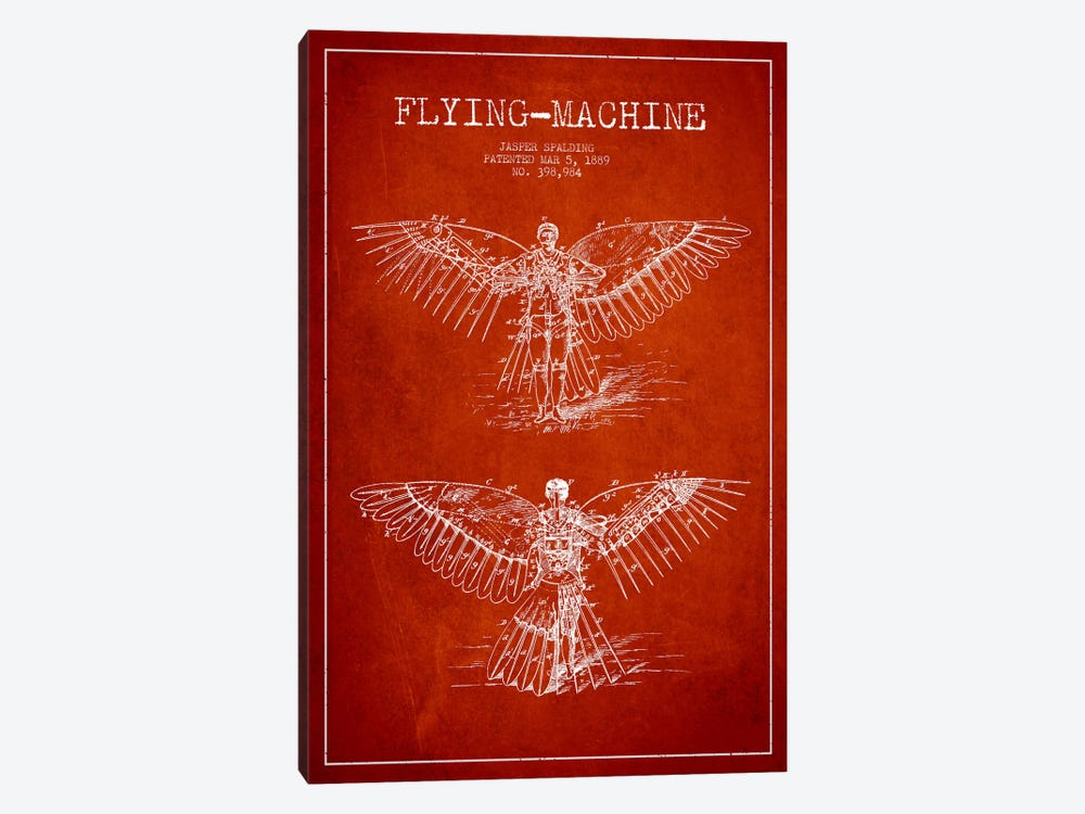 Icarus 3 Red Patent Blueprint 1-piece Canvas Print