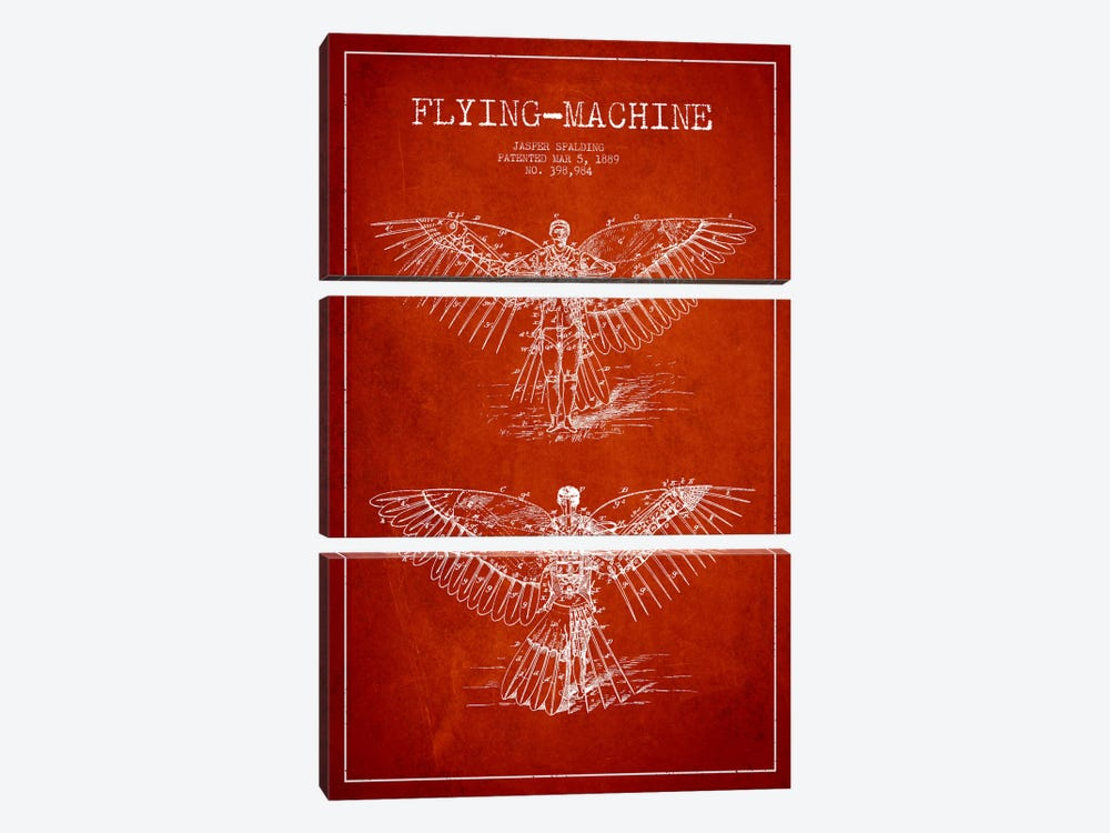 Icarus 3 Red Patent Blueprint by Aged Pixel 3-piece Art Print