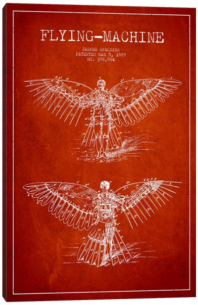 Icarus 3 Red Patent Blueprint Canvas Art Print