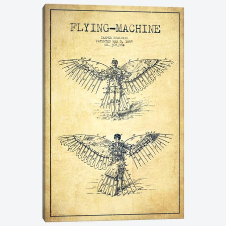 Icarus 3 Vintage Patent Blueprint Canvas Print #ADP2454} by Aged Pixel Canvas Artwork