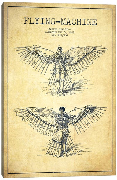 Icarus 3 Vintage Patent Blueprint Canvas Art Print