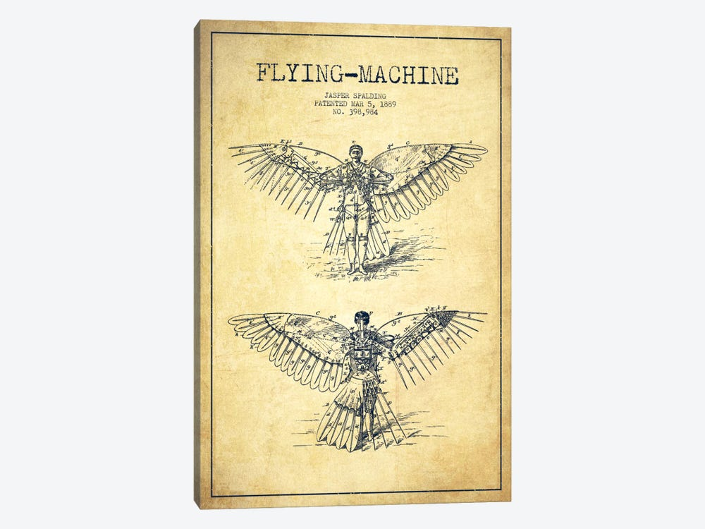 Icarus 3 Vintage Patent Blueprint by Aged Pixel 1-piece Canvas Wall Art