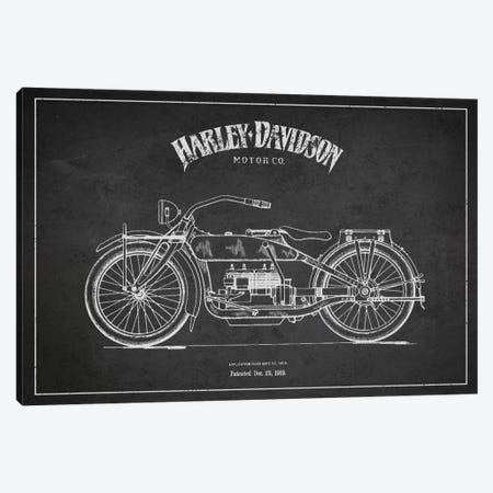 Harley-Davidson Charcoal Patent Blueprint Canvas Print #ADP2455} by Aged Pixel Canvas Artwork