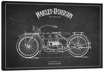 Harley-Davidson Charcoal Patent Blueprint Canvas Art Print
