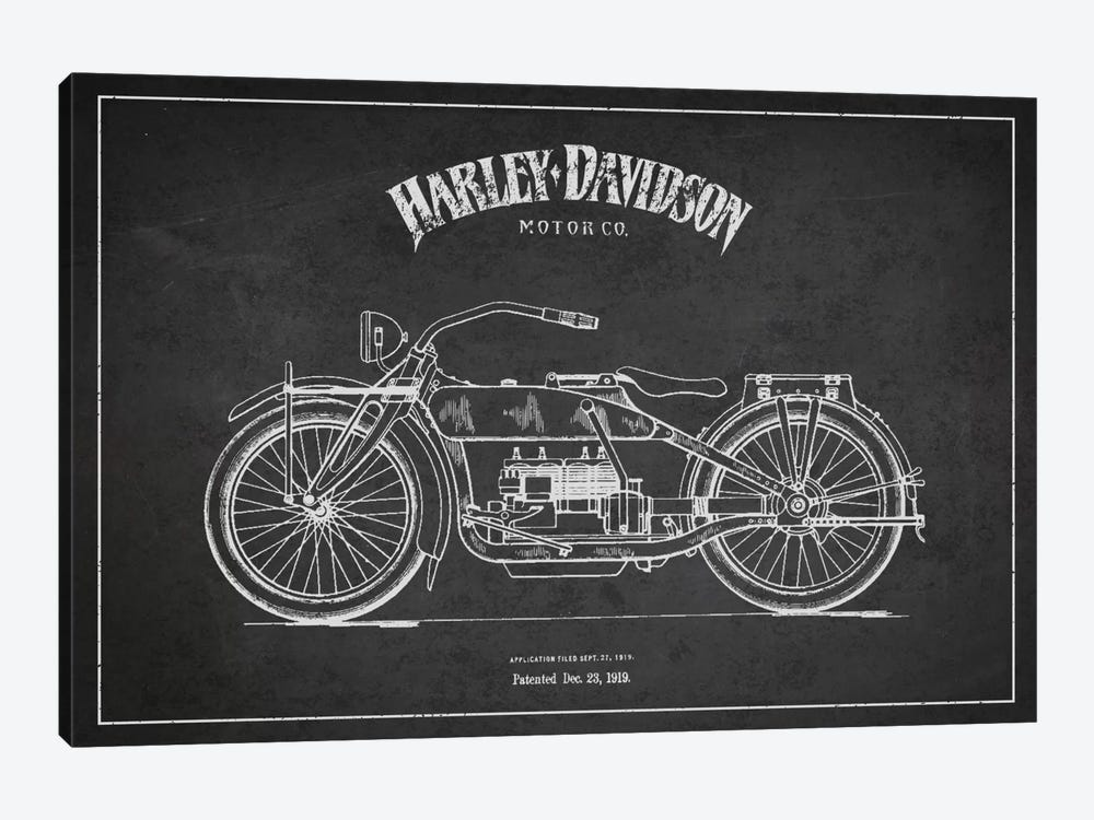 Harley-Davidson Charcoal Patent Blueprint by Aged Pixel 1-piece Art Print