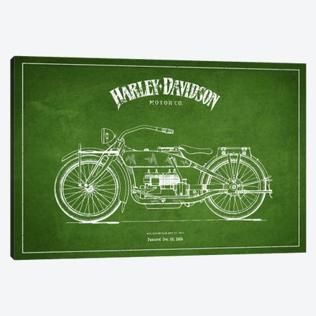 Harley-Davidson Green Patent Blueprint Canvas Print #ADP2456} by Aged Pixel Canvas Art