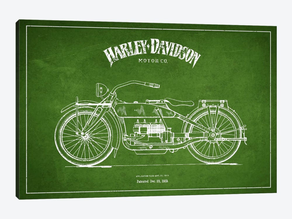 Harley-Davidson Green Patent Blueprint by Aged Pixel 1-piece Canvas Artwork