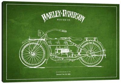 Harley-Davidson Green Patent Blueprint Canvas Art Print