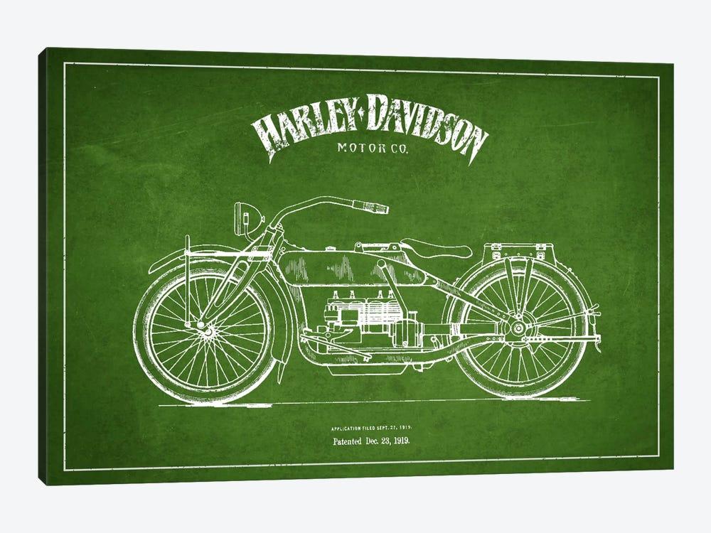 Harley-Davidson Green Patent Blueprint by Aged Pixel 1-piece Canvas Artwork