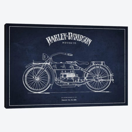 Harley-Davidson Navy Blue Patent Blueprint Canvas Print #ADP2457} by Aged Pixel Canvas Artwork