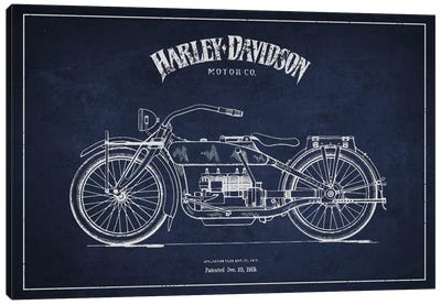Harley-Davidson Navy Blue Patent Blueprint Canvas Print #ADP2457