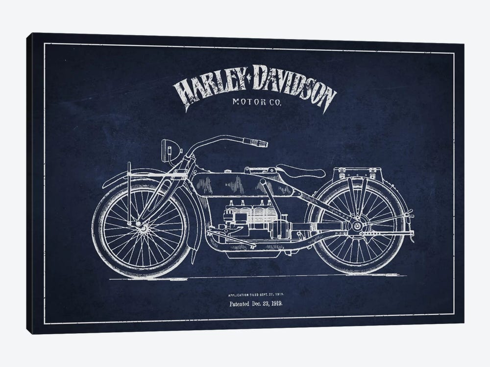 Harley-Davidson Navy Blue Patent Blueprint by Aged Pixel 1-piece Canvas Art Print
