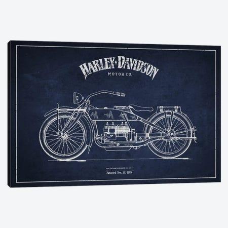 Harley-Davidson Navy Blue Patent Blueprint Canvas Print #ADP2457} by Aged Pixel Canvas Artwork