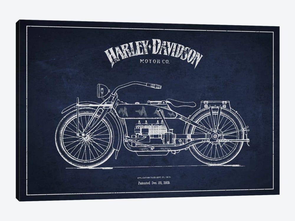 Harley-Davidson Navy Blue Patent Blueprint by Aged Pixel 1-piece Canvas Art Print