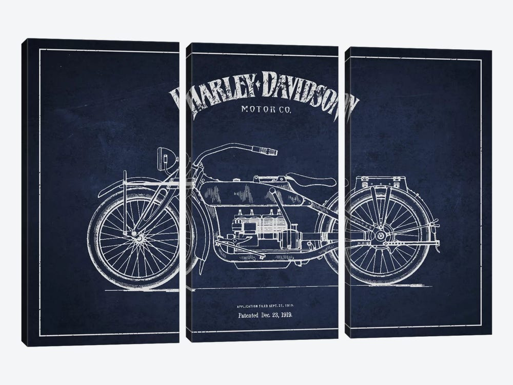 Harley-Davidson Navy Blue Patent Blueprint by Aged Pixel 3-piece Canvas Print