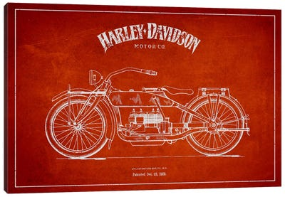 Harley-Davidson Red Patent Blueprint Canvas Print #ADP2458
