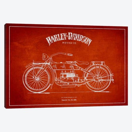 Harley-Davidson Red Patent Blueprint Canvas Print #ADP2458} by Aged Pixel Canvas Art Print