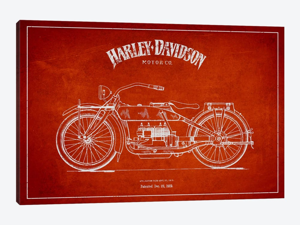 Harley-Davidson Red Patent Blueprint by Aged Pixel 1-piece Canvas Artwork