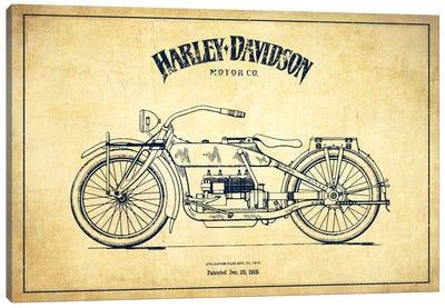 Harley-Davidson Vintage Patent Blueprint Canvas Print #ADP2459