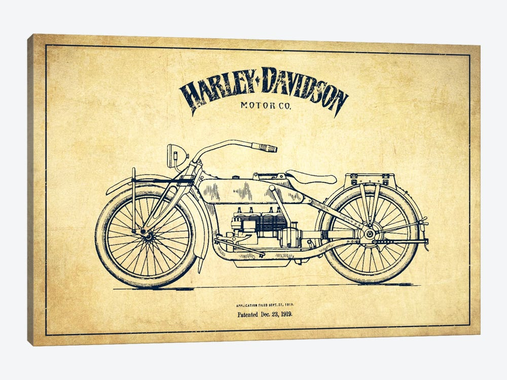 Harley-Davidson Vintage Patent Blueprint 1-piece Canvas Art Print