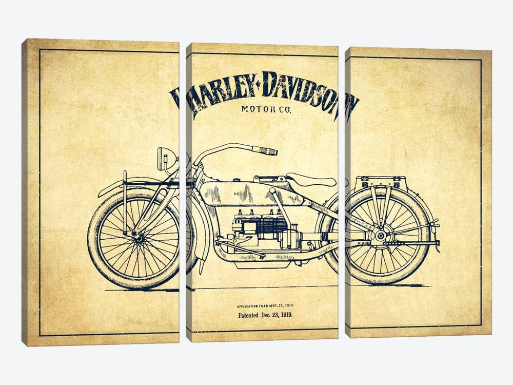 Harley-Davidson Vintage Patent Blueprint by Aged Pixel 3-piece Art Print