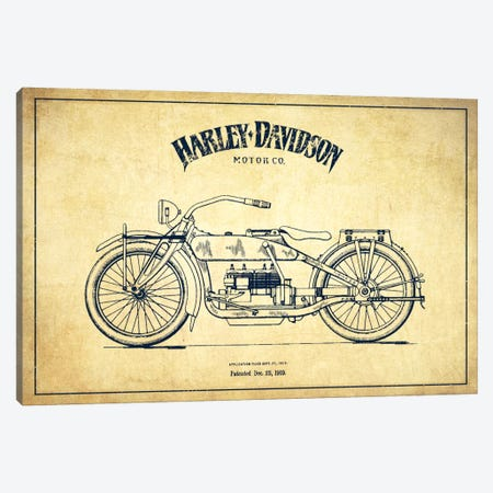 Harley-Davidson Vintage Patent Blueprint Canvas Print #ADP2459} by Aged Pixel Canvas Art Print