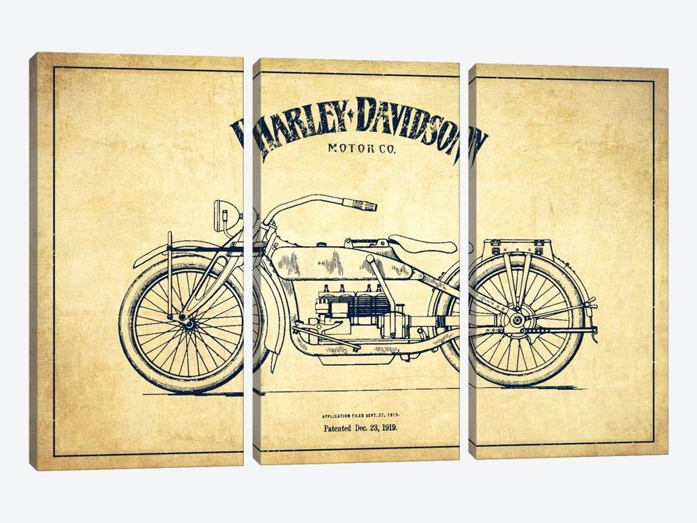 Harley-Davidson Vintage Patent Blueprint by Aged Pixel 3-piece Art Print