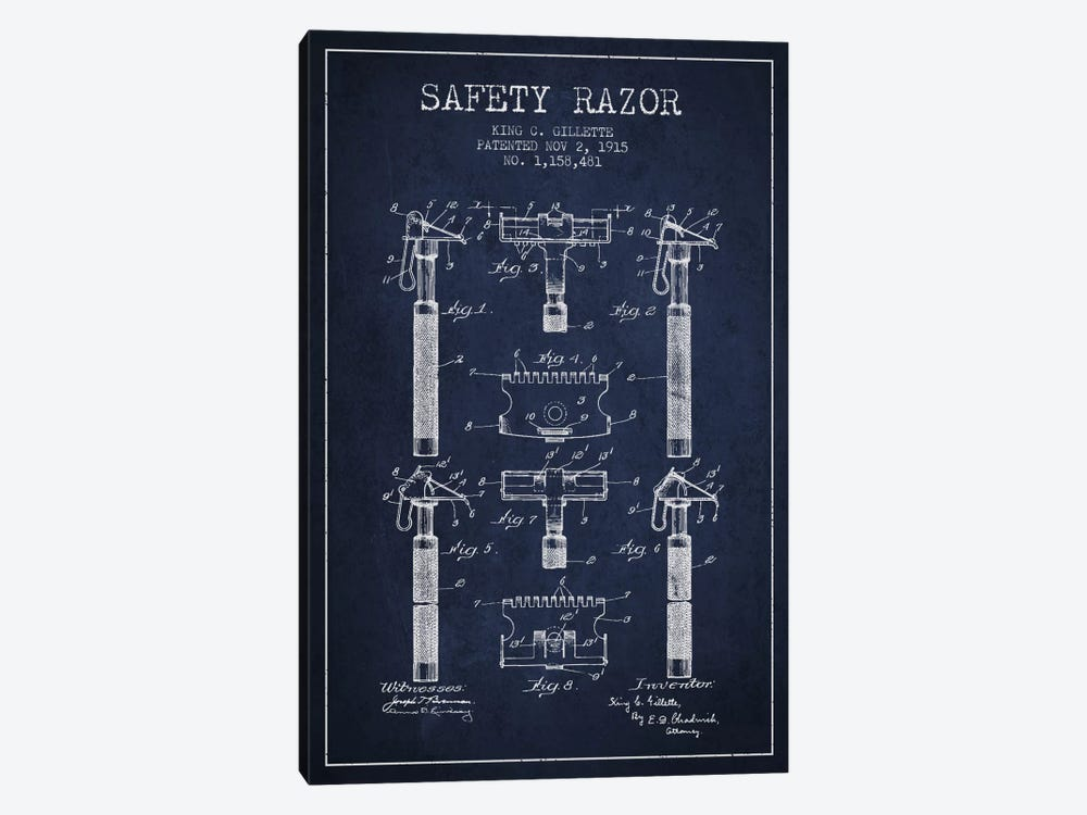 Razor Navy Blue Patent Blueprint 1-piece Canvas Art Print