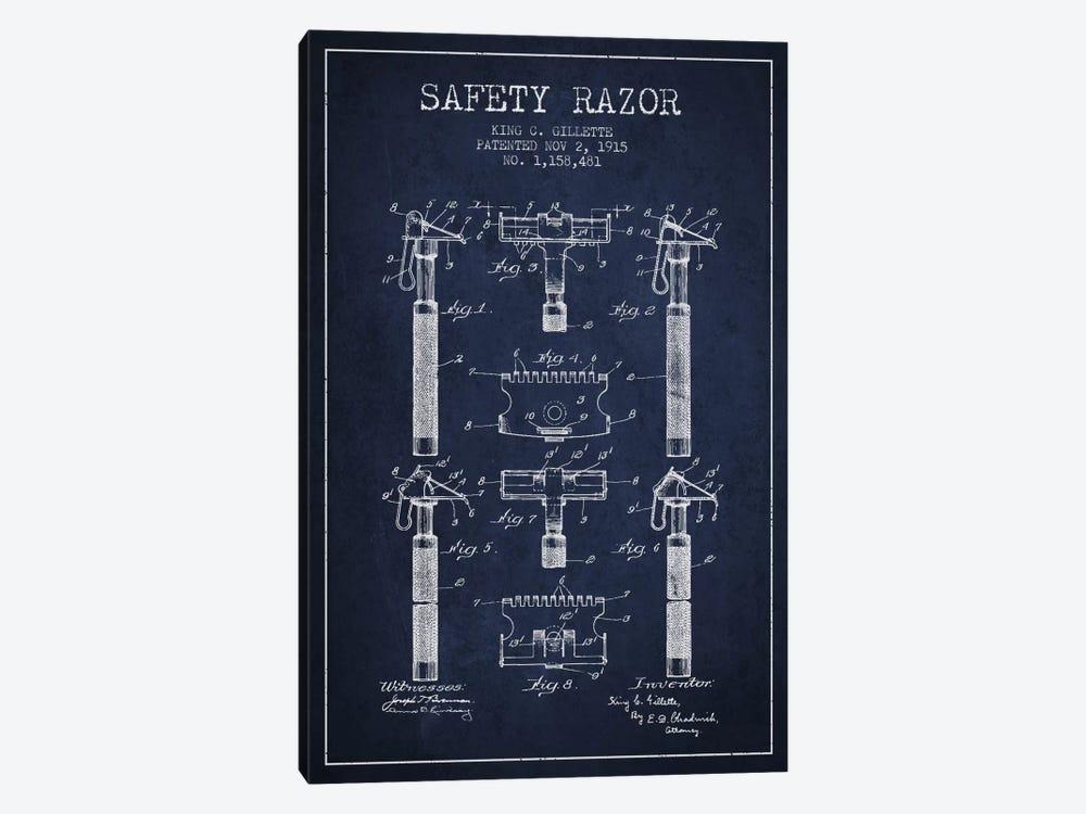 Razor Navy Blue Patent Blueprint by Aged Pixel 1-piece Canvas Art Print