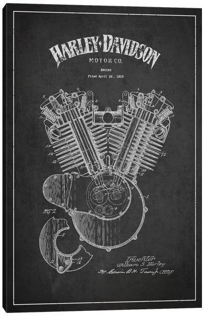 Harley-Davidson Charcoal Patent Blueprint Canvas Print #ADP2460