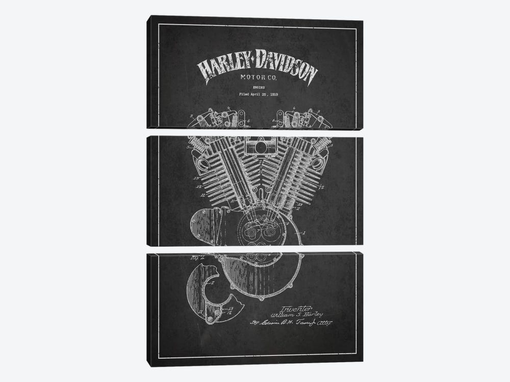Harley-Davidson Charcoal Patent Blueprint by Aged Pixel 3-piece Canvas Art Print