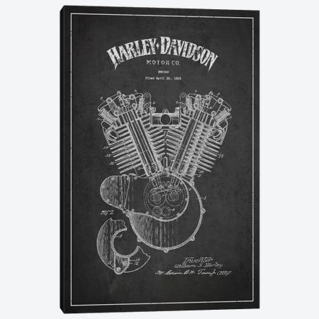 Harley-Davidson Charcoal Patent Blueprint 3-Piece Canvas #ADP2460} by Aged Pixel Canvas Artwork