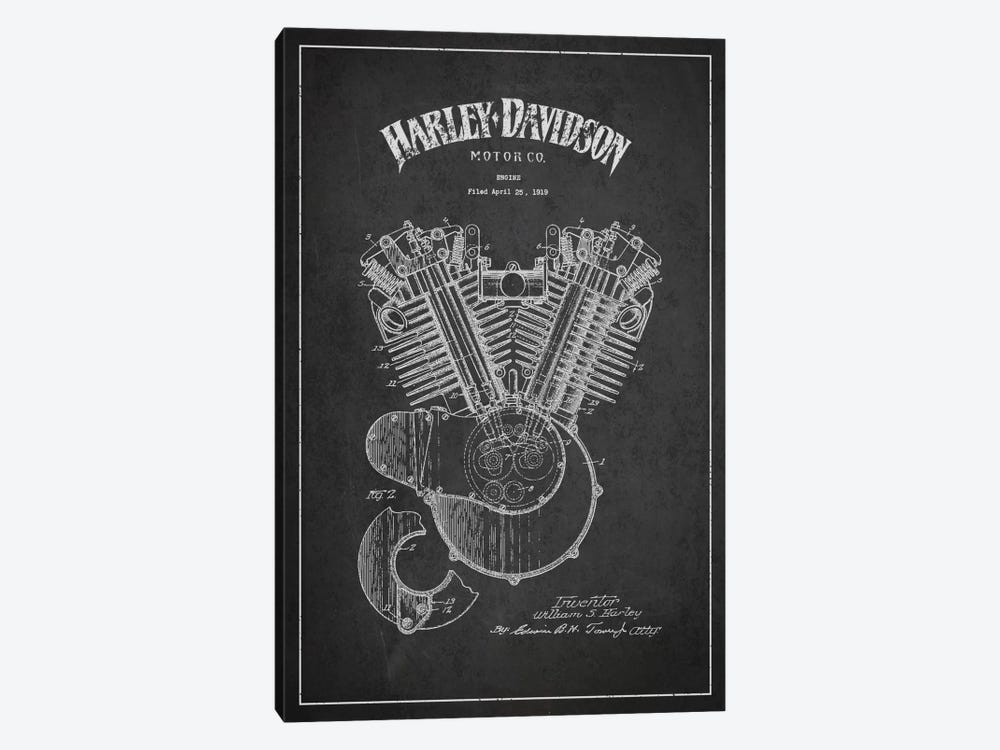 Harley-Davidson Charcoal Patent Blueprint by Aged Pixel 1-piece Art Print