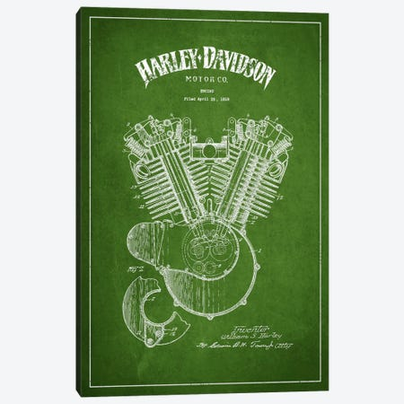 Harley-Davidson Green Patent Blueprint Canvas Print #ADP2461} by Aged Pixel Canvas Art