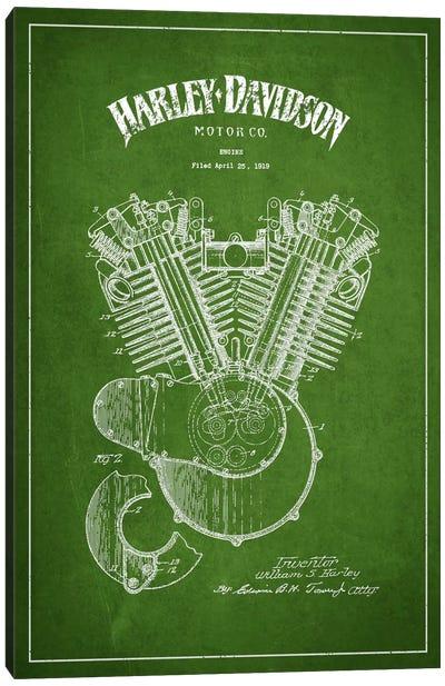 Harley-Davidson Green Patent Blueprint Canvas Print #ADP2461