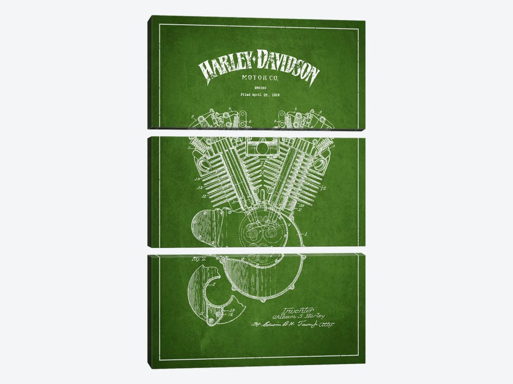 Harley-Davidson Green Patent Blueprint by Aged Pixel 3-piece Canvas Artwork