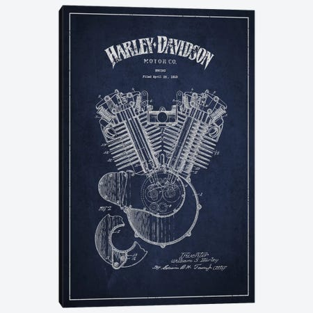 Harley-Davidson Navy Blue Patent Blueprint Canvas Print #ADP2462} by Aged Pixel Canvas Wall Art