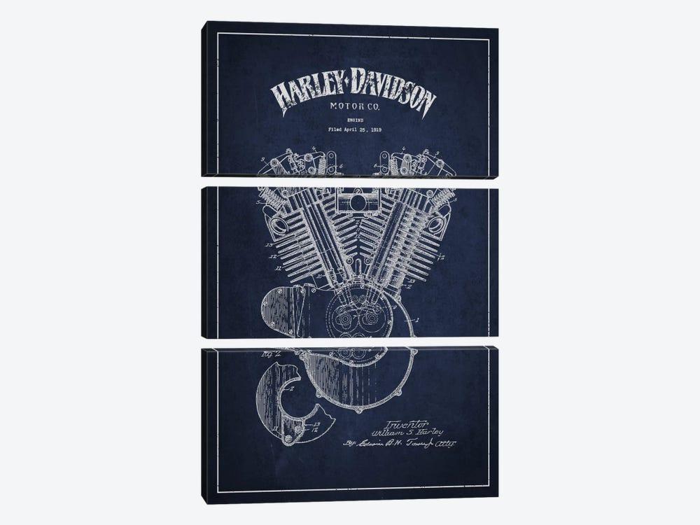 Harley-Davidson Navy Blue Patent Blueprint by Aged Pixel 3-piece Art Print