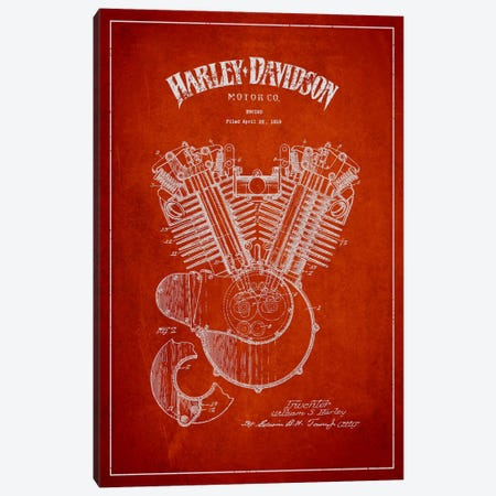 Harley-Davidson Red Patent Blueprint Canvas Print #ADP2463} by Aged Pixel Canvas Art