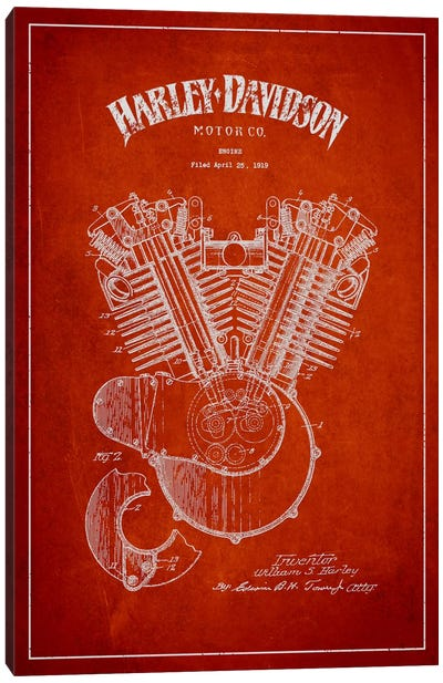 Harley-Davidson Red Patent Blueprint Canvas Print #ADP2463