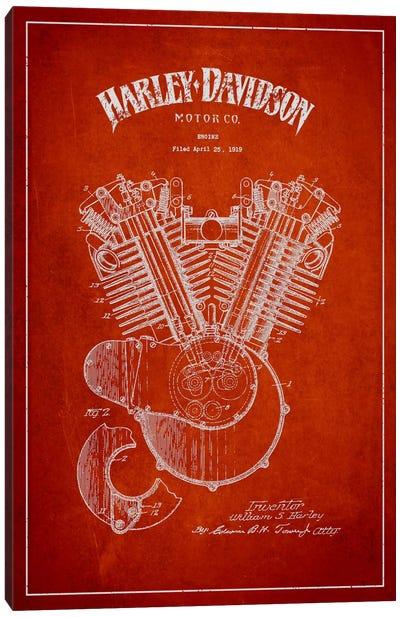 Harley-Davidson Red Patent Blueprint Canvas Art Print
