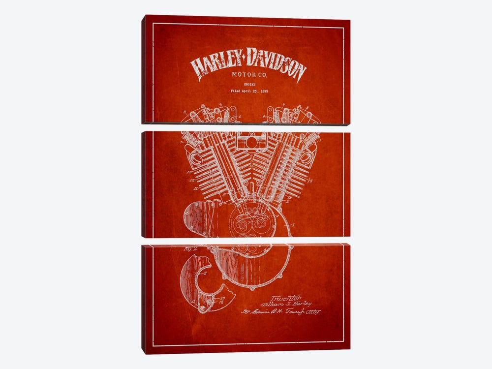 Harley-Davidson Red Patent Blueprint by Aged Pixel 3-piece Canvas Wall Art
